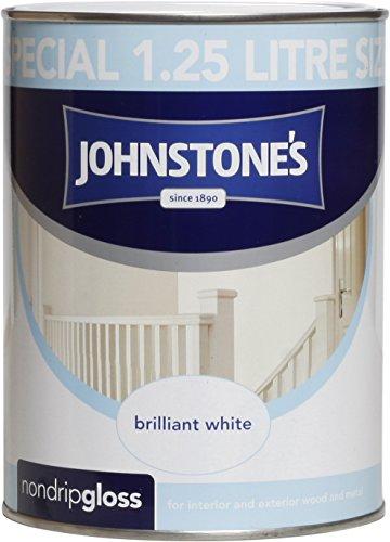 Johnstone's 306534 1.25 Litre Non Drip Gloss Paint - Brilliant White