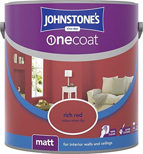 Johnstone's 307080 2.5 Litre One Coat Matt Emulsion Paint - Rich Red