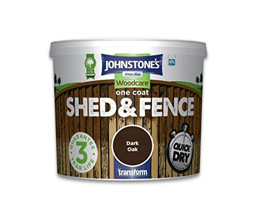 Johnstone's 386166 5 Litre Woodcare One Coat Shed And Fence Paint - Dark Oak