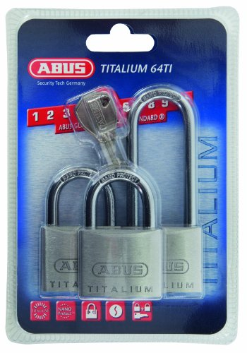 ABUS Mechanical 64TI/40HB63 Titalium Padlock 40mm Triple Pack (1 Long Shackle)