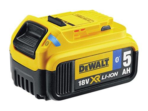 Dewalt Dcb184b 5.0 Ahbluetooth Slide Li-ion Battery Pack, 18 V, Black/yellow