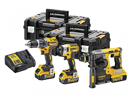 Dewalt Dck368p3t 18v Xr Impact Driver, Combi & Sds Drill Kit With 3 X 5.0ah Batteries