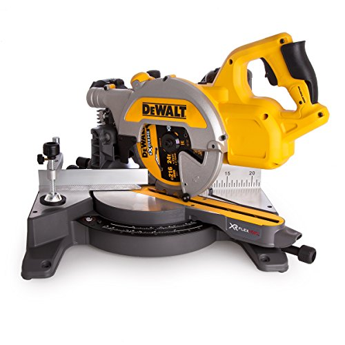 Dewalt Dcs777t2-gb Xr Flex Volt Cordless Brushless Mitre Saw With 2x Dcb546 Batteries And Fast Charger, 54 V, Yellow/black, 216 Mm, Set Of 8 Piece