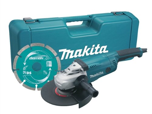 Makita Ga9020kd 230 Mm 2000 W Paddle Switch Angle Grinder With Diamond Blade And Carry Case - Blue (5-piece)