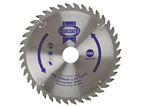 Faithfull Circular Saw Blade 190 x 16/20/30mm x 40T Fine Cross Cut