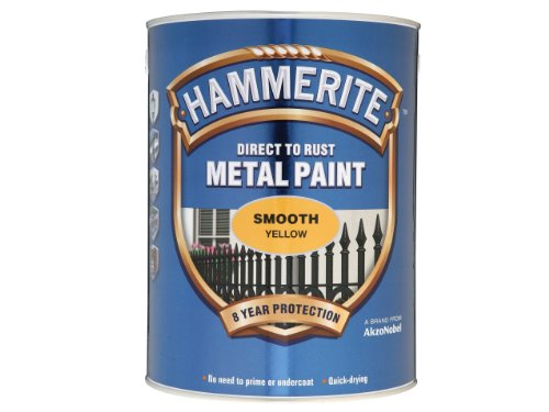 Hammerite Direct to Rust Smooth Finish Metal Paint Yellow 5 Litre