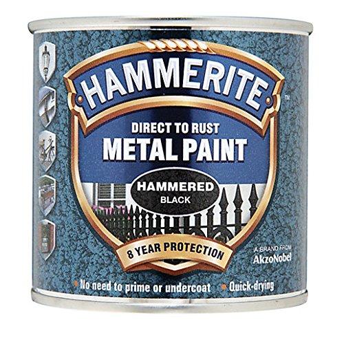 Hammerite Direct To Rust Hammered Finish Metal Paint Black 250ml