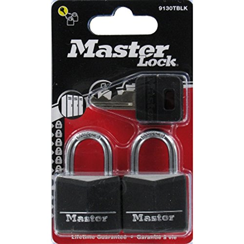 Master Lock Aluminium Black Vinyl Cover 30mm Padlock 4-Pin - Keyed Alike x 2