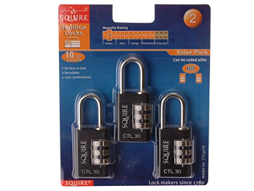 Henry Squire Toughlock Re-Codeable Black Combination Padlock 30mm (Pack of 3)