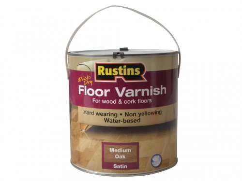 Rustins Quick Dry Coloured Floor Varnish Medium Oak 2.5 Litre