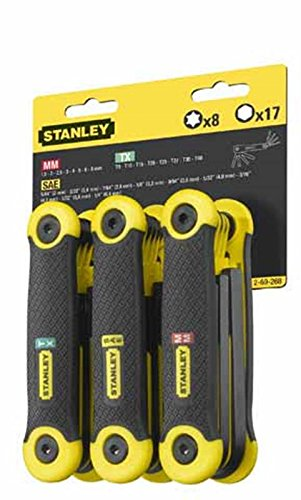 Stanley Folding Hexagon Key Set of 25 Metric, Imperial & TORX