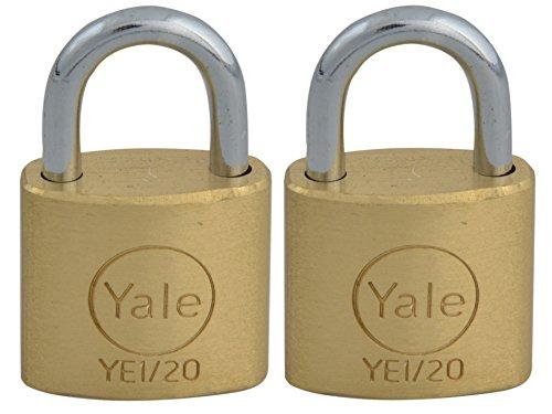 Yale Locks YE1 Brass Padlock 20mm (2 Pack)