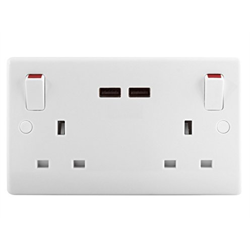 MasterPlug 2-Gang Switched Socket Outlet + USB Charger