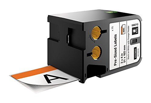 Dymo Pre-Sized Label Black On White Orange Header 51 x 102mm