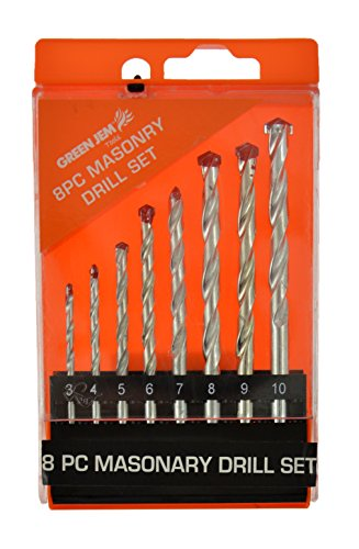 Green Jem Htdr8m Masonry Drill Bit, 0 V, Silver, Set Of 8 Piece