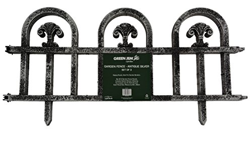 Green Jem Set of 3 Garden Fence - Antique Silver