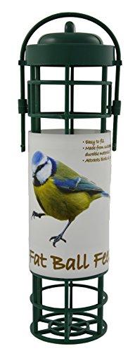 Green Jem Plastic Fat Ball Wild Bird Feeder, Green, 8x7x25 Cm