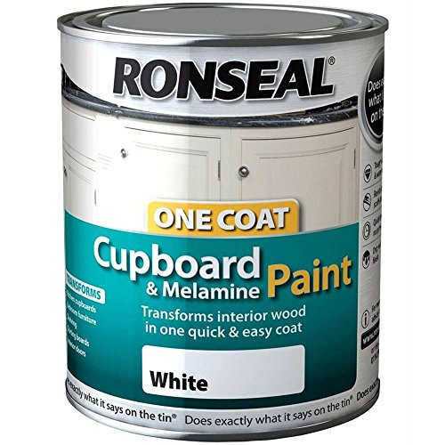 Ronseal One Coat Cupboard Melamine & MDF paint, 750ml, White