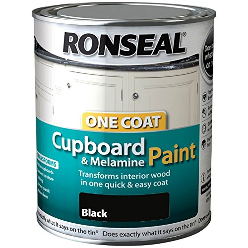 Ronseal One Coat Cupboard Melamine & MDF Paint - Black Gloss 750ml