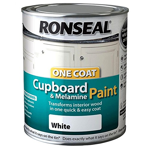 Ronseal One Coat Cupboard Melamine & MDF Paint - White Gloss 750ml