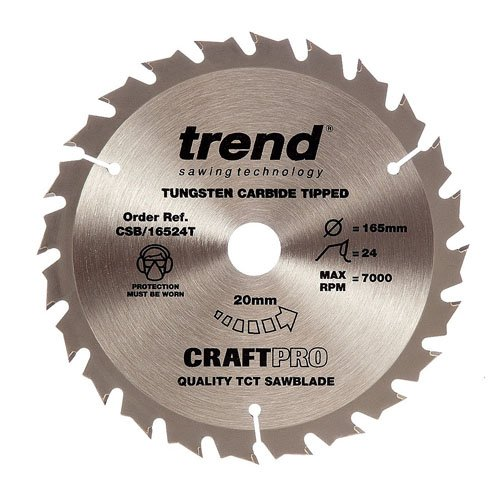 Trend Craft Saw Blade 165mm X 24 Teeth X 20 Thin