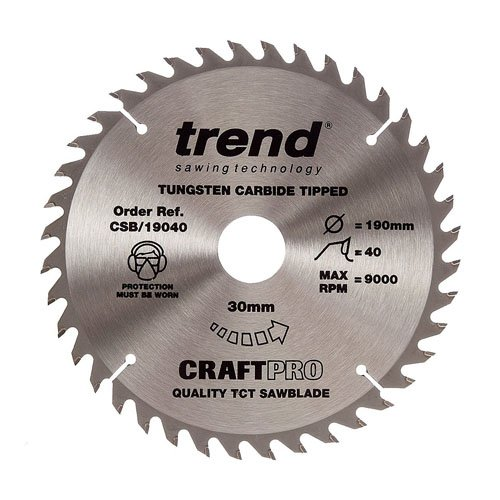 Trend Craft Saw Blade 190mm X 40 Teeth X 30mm