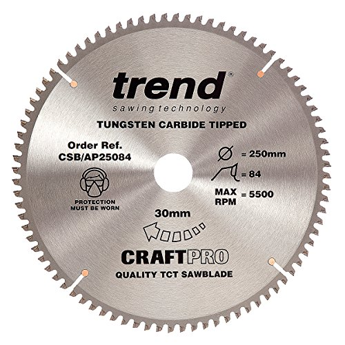 Trend Craft Saw Blade Aluminium And Plastic 250mm X 84 Teeth X 30mm