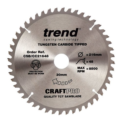 Trend Craft Saw Blade Crosscut 216mm X 48 Teeth X 30mm