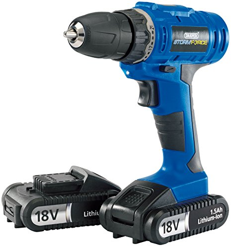 Draper Storm Force® Cordless Drill with Two Li-ion Batteries (18V)