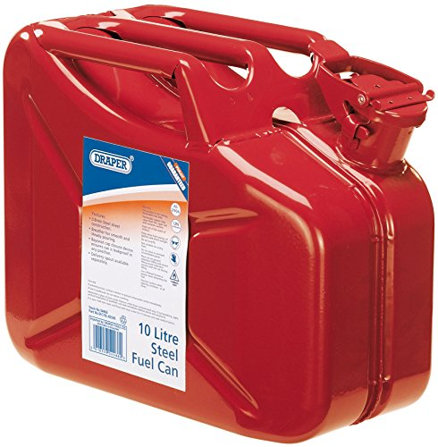 Draper Steel Jerry Can For Petrol Or Diesel Fuel Red 10 Litre