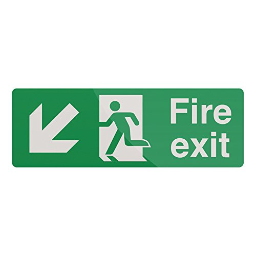FIXMAN Fire Exit Arrow Sign 400 x 150mm Rigid Down Left