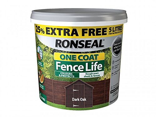 Ronseal Rslfldon4lav One Coat Fence Life Dark Oak New 4 Litre +25%