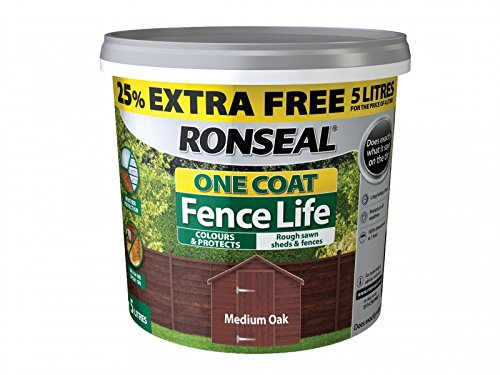 Ronseal Rslflmon4lav One Coat Fence Life Medium Oak New 4 Litre +25%