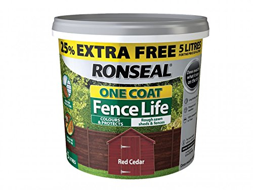 Ronseal Rslflrcn4lav One Coat Fence Life Red Cedar New 4 Litre +25%