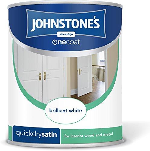 Johnstone's 303912 750ml One Coat Quick Dry Satin Paint - Brilliant White