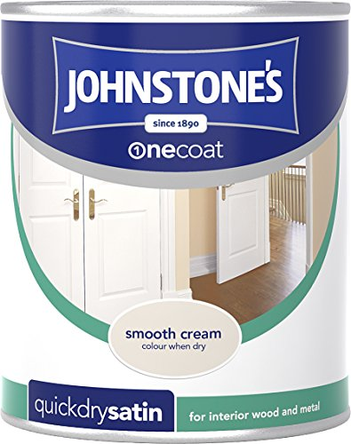 Johnstone's 303927 750ml One Coat Quick Dry Satin Paint - Smooth Cream