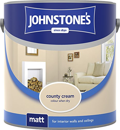 Johnstone's 304016 2.5 Litre Matt Emulsion Paint - County Cream