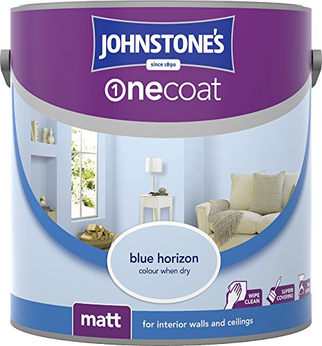 Johnstone's 304128 2.5 Litre One Coat Matt Emulsion Paint - Blue Horizon