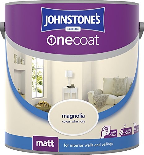 Johnstone's 304132 2.5 Litre One Coat Matt Emulsion Paint - Magnolia