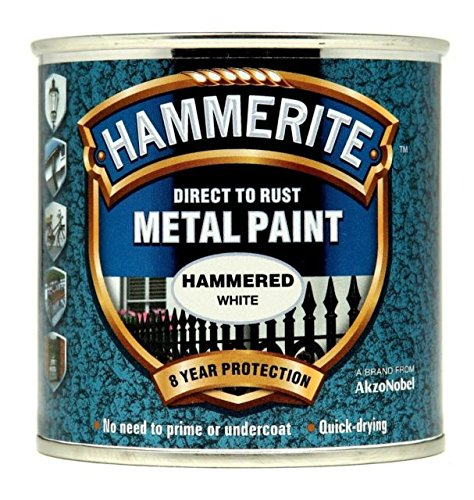 Hammerite Direct to Rust Hammered Finish Metal Paint White 750ml