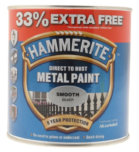 Hammerite Direct To Rust Smooth Finish Metal Paint Silver 750ml + 33%