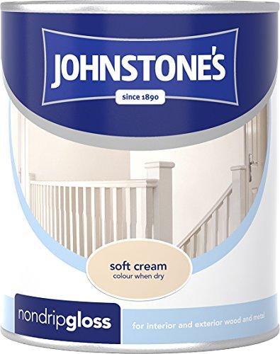 Johnstone's 303885 750ml Non Drip Gloss Paint - Soft Cream