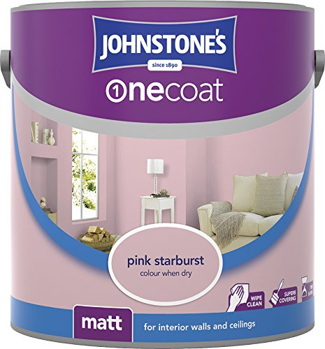 Johnstone's 304125 2.5 Litre One Coat Matt Emulsion Paint - Pink Starburst