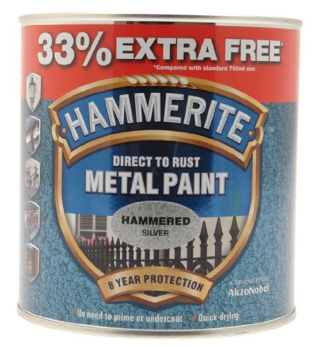Hammerite Direct To Rust Hammered Finish Metal Paint Silver 750ml + 33%