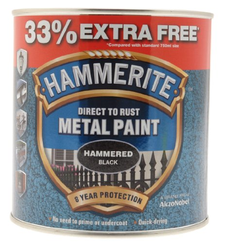 Hammerite Direct to Rust Hammered Finish Metal Paint Black 750ml + 33%