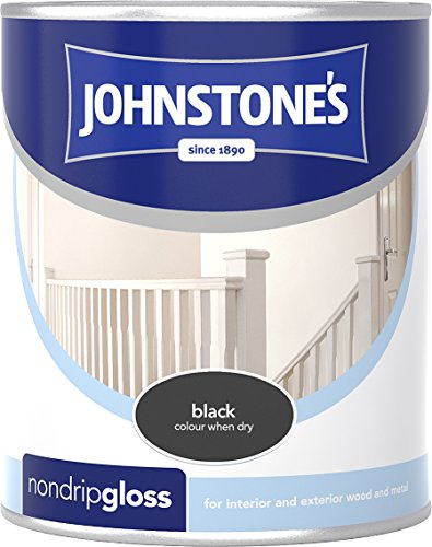 Johnstone's 303875 250ml Non Drip Gloss Paint - Black