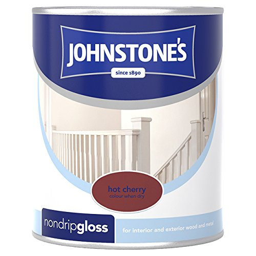 Johnstone's 303890 750ml Non Drip Gloss Paint - Hot Cherry