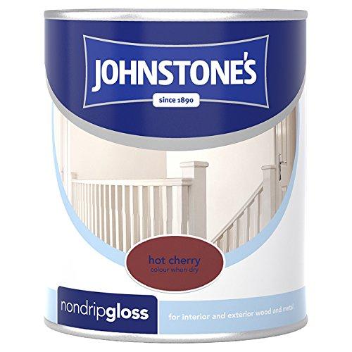 Johnstone's 303890 750ml Non Drip Gloss Paint - Hot Cherry