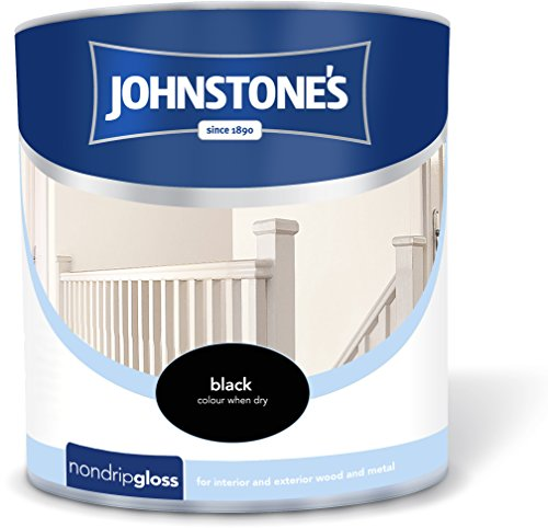 Johnstone's 303896 2.5 Litre Non Drip Gloss Paint - Black