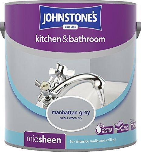 Johnstone's 307064 2.5 Litre Kitchen And Bathroom Emulsion Paint - Manhattan Grey